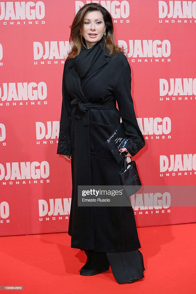 Edwige Fenech attends the 'Django Unchained' premiere at Cinema Adriano on January 4, 2013 in Rome, Italy.