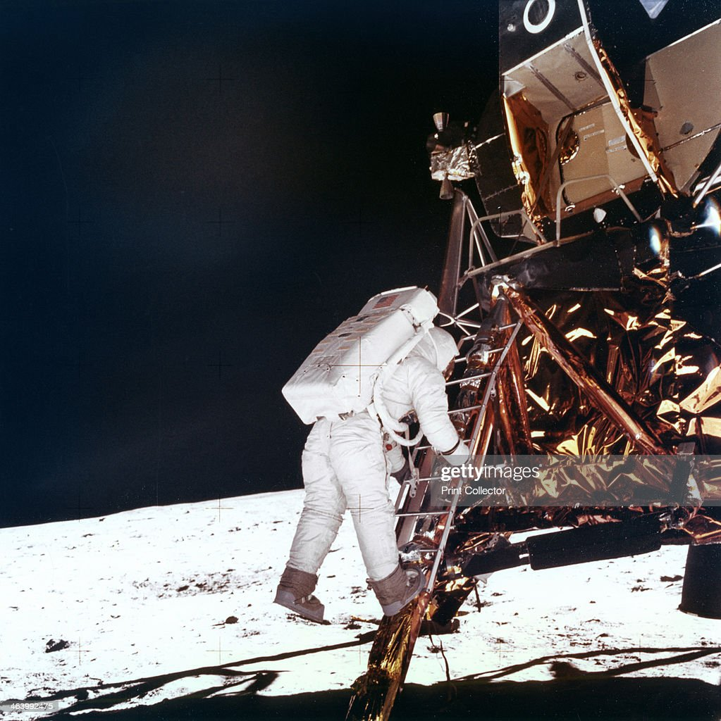 Edwin Buzz Aldrin descends the steps of the Lunar Module ladder to walk on the Moon 1969 This photograph was taken by Neil Armstrong