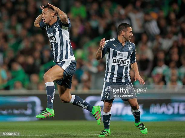 Edwin Cardona celebrates with his teammates after scoring the second goal of his team during a 6th round match between Santos Laguna and Monterrey as...