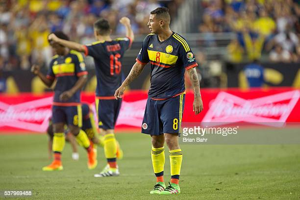 Edwin Cardona Daniel Torres and Guillermo Celis of Colombia celebrate after a group A match between United States and Colombia at Levi's Stadium as...