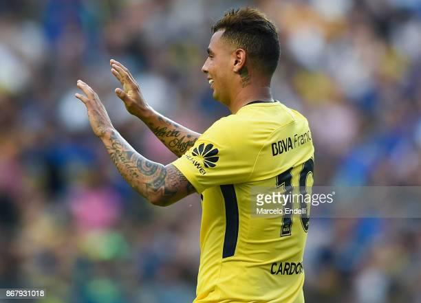 Edwin Cardona of Boca Juniors celebrates after scoring the second goal of his team during a match between Boca Juniors and Belgrano as part of...