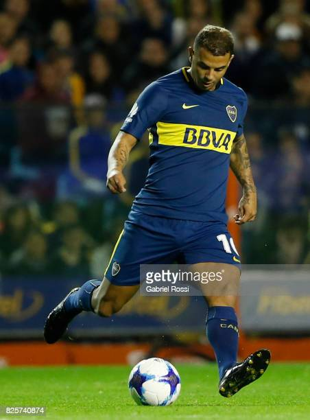 Edwin Cardona of Boca Juniors takes a shot during the international friendly match between Boca Juniors and Villarreal CF at Alberto J Armando...