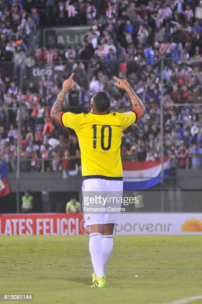 Edwin Cardona of Colombia celebrates after scoring the opening goal during a match between Paraguay and Colombia as part of FIFA 2018 World Cup...