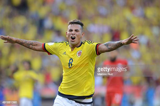 Edwin Cardona of Colombia celebrates after scoring the second goal of his team during a match between Colombia and Peru as part of FIFA 2018 World...