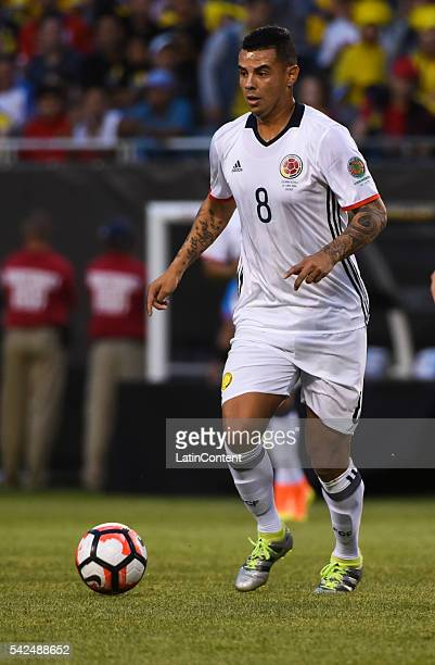 Edwin Cardona of Colombia drives the ball during a Semifinal match between Colombia and Chile at Soldier Field as part of Copa America Centenario US...