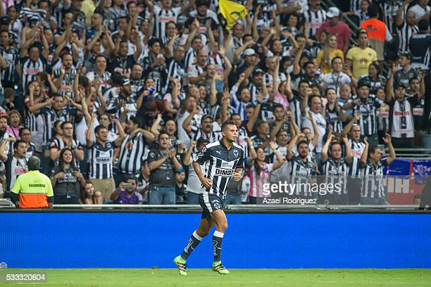 Edwin Cardona of Monterrey celebrates after scoring his team's first goal during the semi finals second leg match between Monterrey and America as...