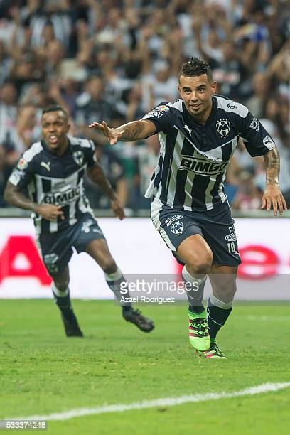 Edwin Cardona of Monterrey celebrates after scoring his team's fourth goal during the semi finals second leg match between Monterrey and America as...