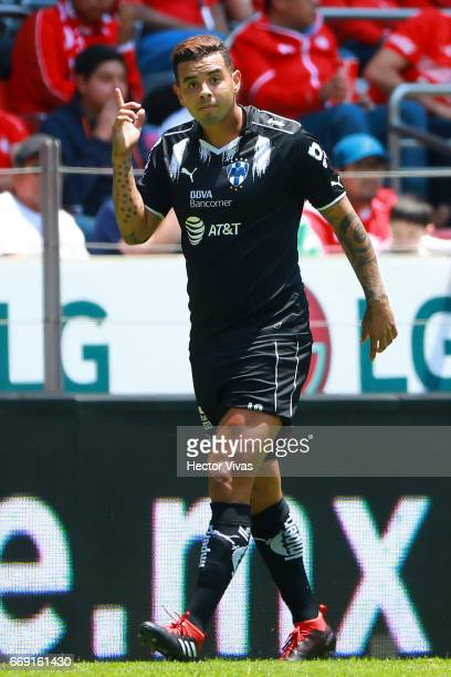 Edwin Cardona of Monterrey celebrates after scoring the first goal of his team during the 14th round match between Toluca and Monterrey as part of...