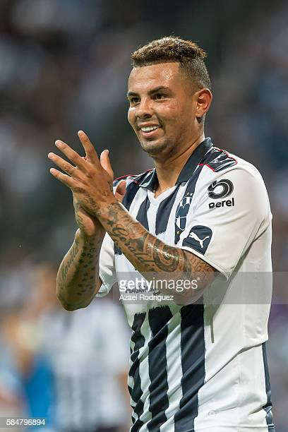 Edwin Cardona of Monterrey greets a teammate during the 3rd round match between Monterrey and Cruz Azul as part of the Torneo Apertura 2016 Liga MX...