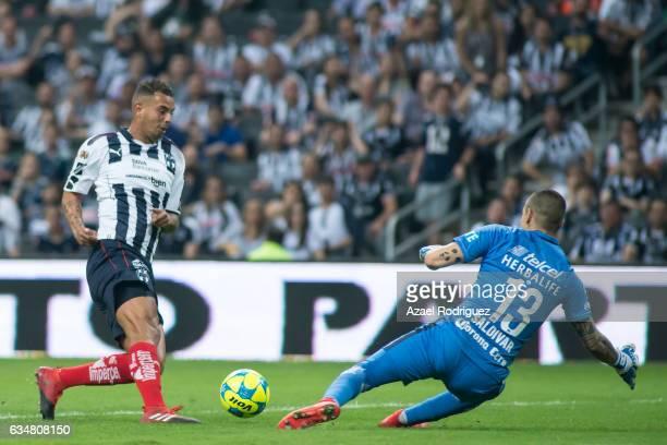 Edwin Cardona of Monterrey kicks the ball towards Alfredo Saldivar goalkeeper of Pumas during the 6th round match between Monterrey and Pumas UNAM as...