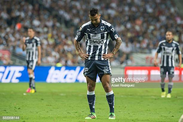 Edwin Cardona of Monterrey reacts during the semi finals second leg match between Monterrey and America as part of the Clausura 2016 Liga MX at BBVA...