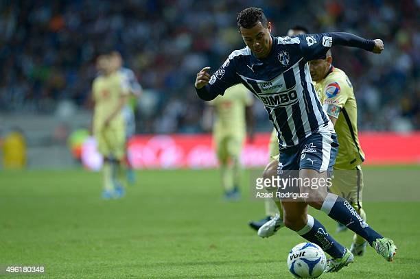 Edwin Cardona of Monterrey runs with the ball during the 16th round match between Monterrey and America as part of the Apertura 2015 Liga MX at BBVA...