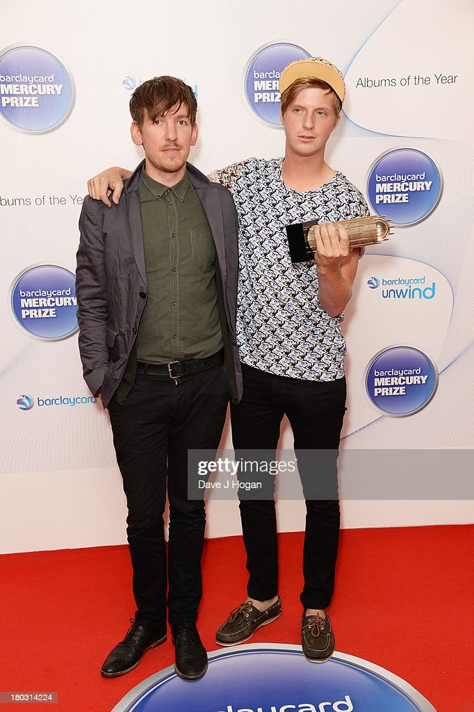 Edwin Congreave and Jack Bevan of Foals attend the Barclaycard Mercury Prize shortlist announcement at The Hospital Club on September 11, 2013 in London, England.