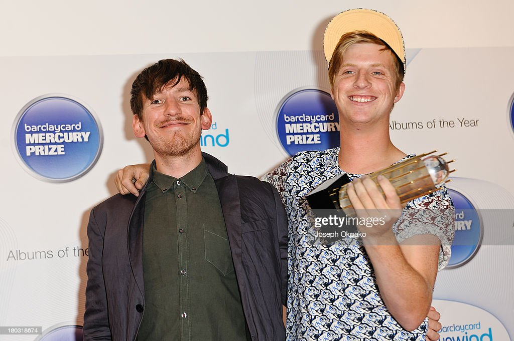 Edwin Congreave and Jack Bevan of Foals attends the announcement of the Barclaycard Mercury Prize shortlist at The Hospital Club on September 11, 2013 in London, England.