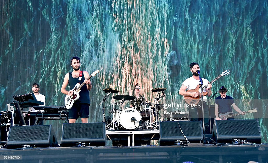 Edwin Congreave Jimmy Smith Jack Bevan Yannis Philippakis and Walter Gervers of Foals perform onstage during day 1 of the 2016 Coachella Valley Music...