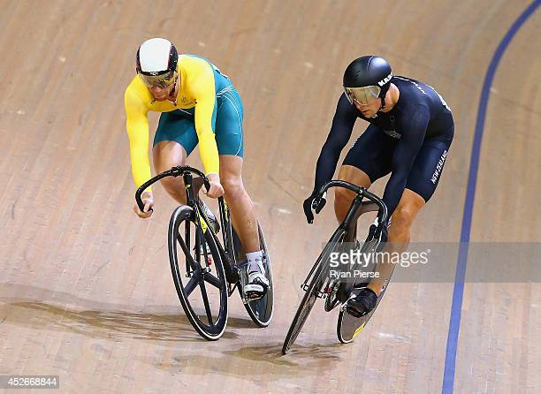 Edwin Dawkins of New Zealand and Peter Lewis of Australia race in the Men's Sprint Bronze Final at Sir Chris Hoy Velodrome during day two of the...