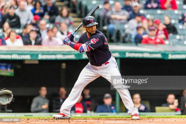 Edwin Encarnacion of the Cleveland Indians at bat during the first inning against the Seattle Mariners at Progressive Field on April 28 2017 in...