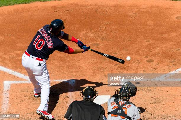 Edwin Encarnacion of the Cleveland Indians at bat during the fourth inning against the Baltimore Orioles at Progressive Field on September 9 2017 in...