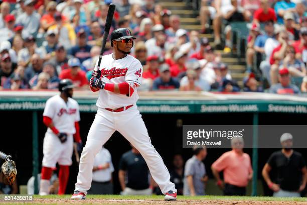 Edwin Encarnacion of the Cleveland Indians bats against the Colorado Rockies in the fifth inning at Progressive Field on August 9 2017 in Cleveland...