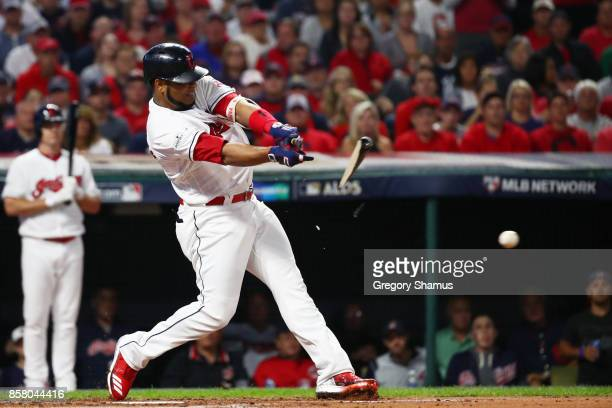 Edwin Encarnacion of the Cleveland Indians grounds out on a broken bat during the first inning against the New York Yankees during game one of the...