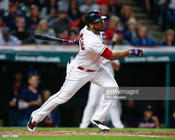Edwin Encarnacion of the Cleveland Indians hits a three run double off David Holmberg of the Chicago White Sox during the third inning at Progressive...