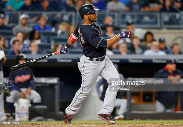Edwin Encarnacion of the Cleveland Indians in action against the New York Yankees at Yankee Stadium on August 28 2017 in the Bronx borough of New...