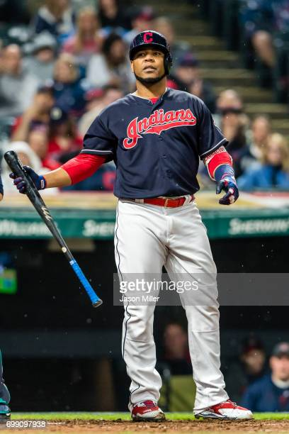 Edwin Encarnacion of the Cleveland Indians reacts after striking out to end the eighth inning against the Seattle Mariners at Progressive Field on...