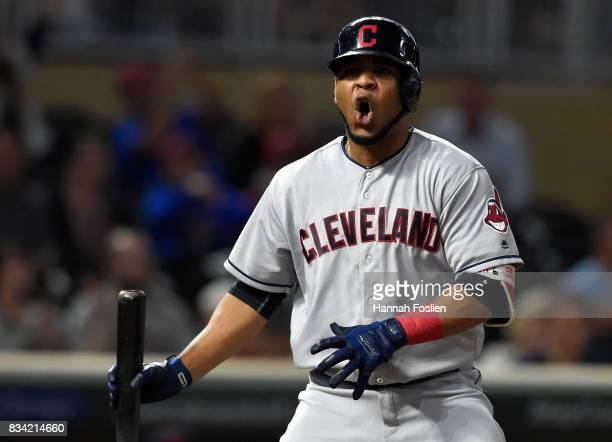 Edwin Encarnacion of the Cleveland Indians reacts to striking out against the Minnesota Twins during the ninth inning in game two of a doubleheader...
