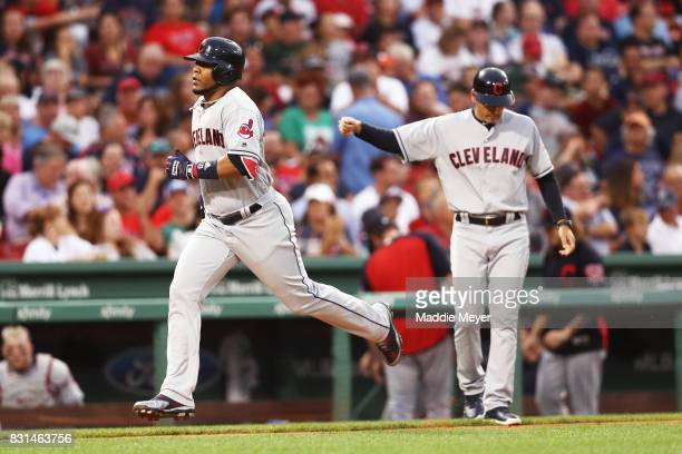 Edwin Encarnacion of the Cleveland Indians rounds the bases after hitting a two run home run against the Boston Red Sox during the fifth inning at...