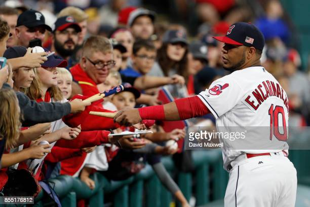 Edwin Encarnacion of the Cleveland Indians signs autographs before the game against the Baltimore Orioles at Progressive Field on September 10 2017...