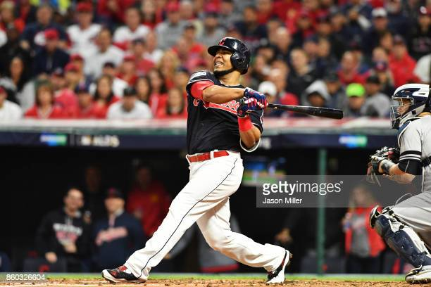 Edwin Encarnacion of the Cleveland Indians strikes out swinging in the second inning against the New York Yankees in game five of the American League...