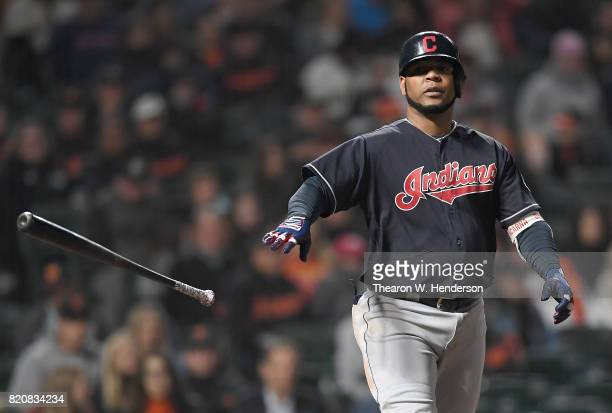 Edwin Encarnacion of the Cleveland Indians tosses his bat away after walking against the San Francisco Giants in the top of the ninth inning at ATT...
