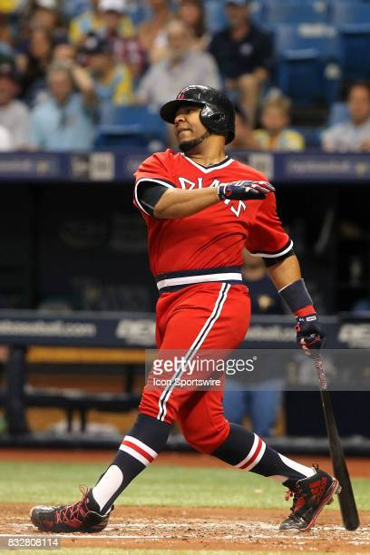 Edwin Encarnacion of the Indians at bat during the MLB regular season game between the Cleveland Indians and Tampa Bay Rays on August 12 at Tropicana...