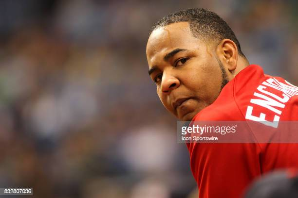 Edwin Encarnacion of the Indians looks out towards the field during the MLB regular season game between the Cleveland Indians and Tampa Bay Rays on...
