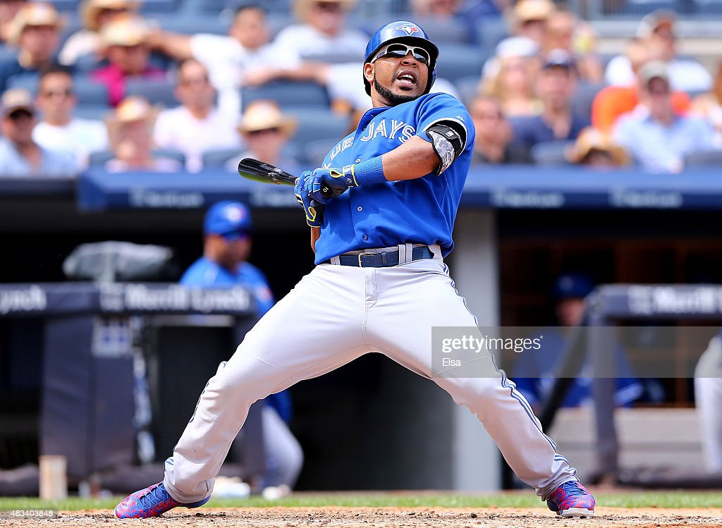 <a gi-track='captionPersonalityLinkClicked' href=/galleries/search?phrase=Edwin+Encarnacion&family=editorial&specificpeople=598285 ng-click='$event.stopPropagation()'>Edwin Encarnacion</a> #10 of the Toronto Blue Jays is brushed back in the sixth inning against the New York Yankees on August 8, 2015 at Yankee Stadium in the Bronx borough of New York City.