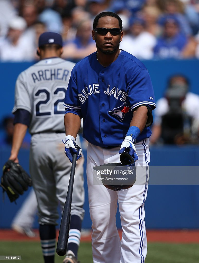 <a gi-track='captionPersonalityLinkClicked' href=/galleries/search?phrase=Edwin+Encarnacion&family=editorial&specificpeople=598285 ng-click='$event.stopPropagation()'>Edwin Encarnacion</a> #10 of the Toronto Blue Jays reacts after popping out to end the seventh inning during MLB game action as Chris Archer #22 of the Tampa Bay Rays walks away on July 21, 2013 at Rogers Centre in Toronto, Ontario, Canada.