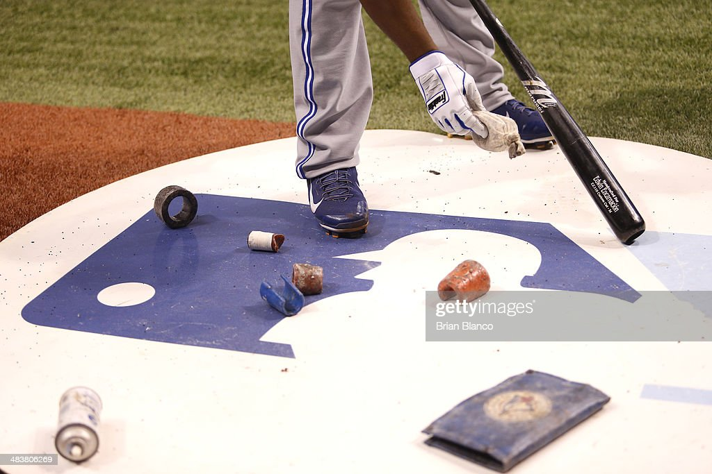 <a gi-track='captionPersonalityLinkClicked' href=/galleries/search?phrase=Edwin+Encarnacion&family=editorial&specificpeople=598285 ng-click='$event.stopPropagation()'>Edwin Encarnacion</a> #10 of the Toronto Blue Jays readies his bat before taking to the plate during a game against the Tampa Bay Rays on April 1, 2014 at Tropicana Field in St. Petersburg, Florida.