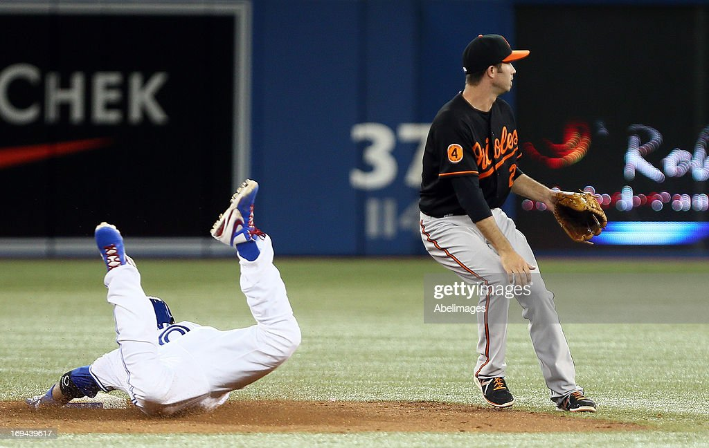 Edwin Encarnacion #10 of the Toronto Blue Jays slides safely into second base for a double past J.J. Hardy #2 of the Baltimore Orioles during MLB action at the Rogers Centre May 24, 2013 in Toronto, Ontario, Canada.