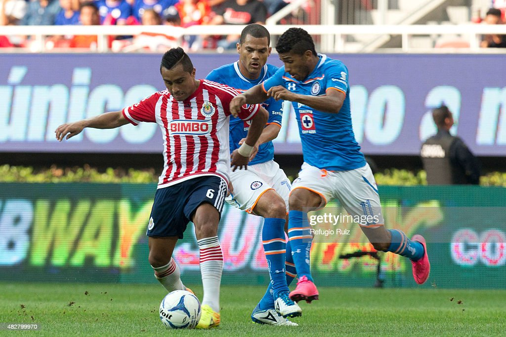 Edwin Hernandez of Chivas fights for the ball with <a gi-track='captionPersonalityLinkClicked' href=/galleries/search?phrase=Joao+Rojas&family=editorial&specificpeople=5670882 ng-click='$event.stopPropagation()'>Joao Rojas</a> of Cruz Azul during a 2nd round match between Chivas and Cruz Azul as part of the Apertura 2015 Liga MX at Omnilife Stadium on August 02, 2015 in Zapopan, Mexico.