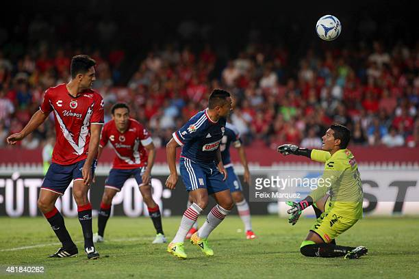 Edwin Hernandez of Chivas heads the ball during a 1st round match between Veracruz and Chivas as part of the Apertura 2015 Liga MX at Luis 'Pirata'...
