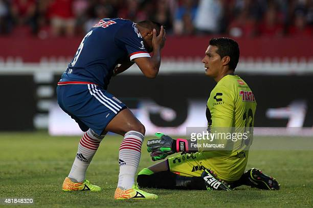 Edwin Hernandez of Chivas reacts after missing a chance during a 1st round match between Veracruz and Chivas as part of the Apertura 2015 Liga MX at...