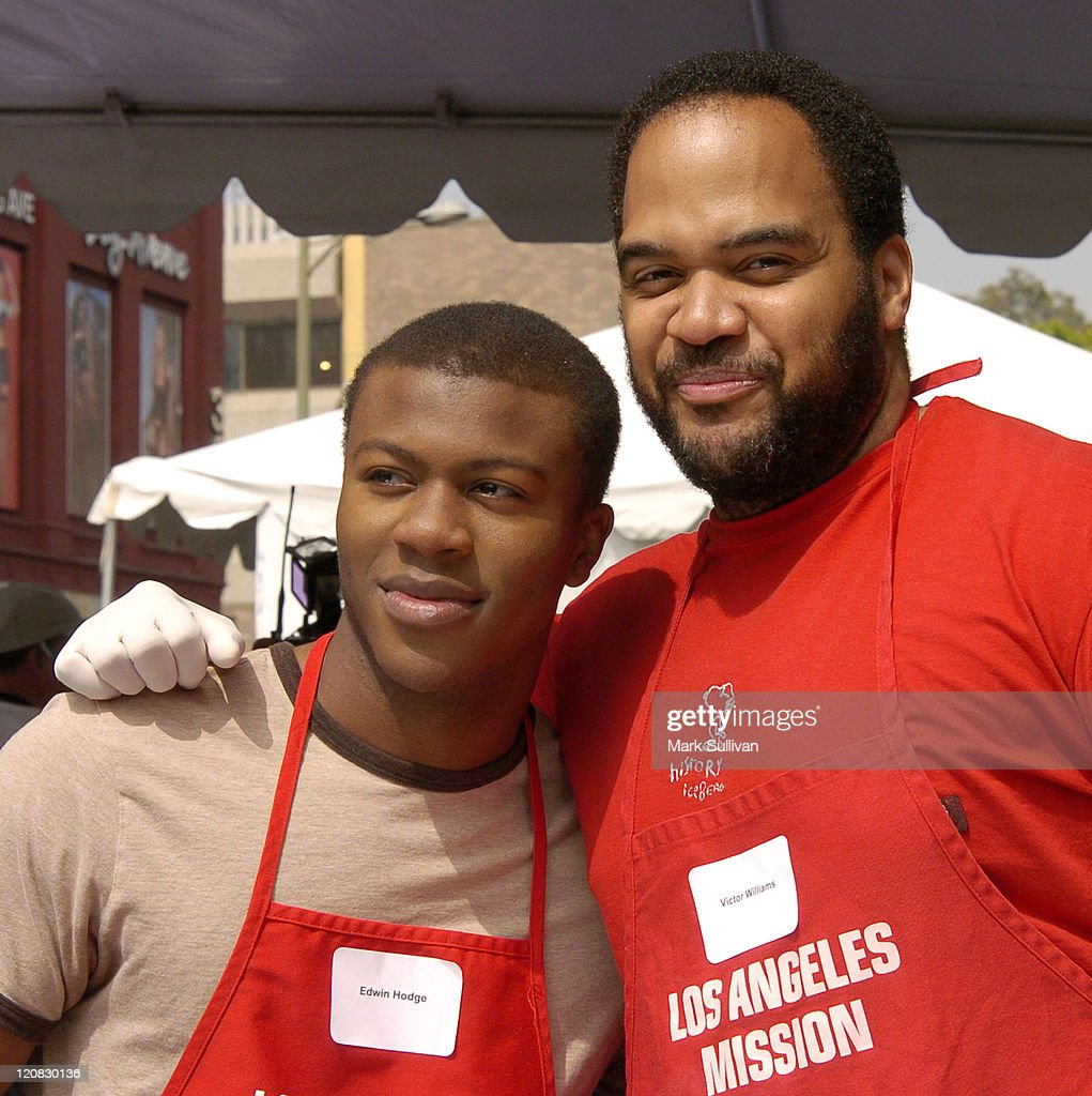 Edwin Hodge and Victor Williams during Los Angeles Mission 2004 Easter Celebration at Downtown Los Angeles in Los Angeles, California, United States.