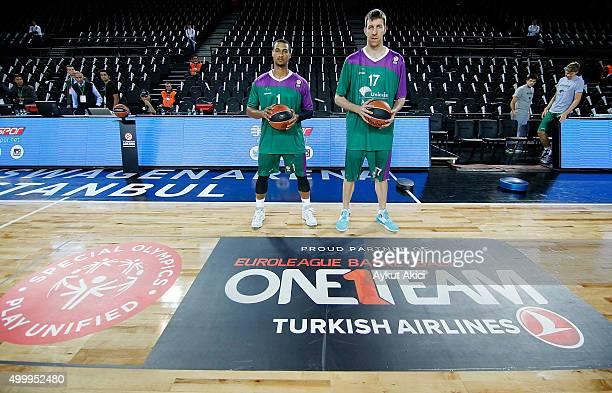 Edwin Jackson #1 of Unicaja Malaga and Fran Vazquez #17 of Unicaja Malaga pictured prior to the Turkish Airlines Euroleague Basketball Regular Season...