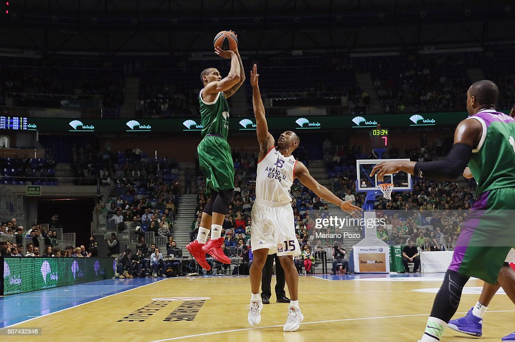 Edwin Jackson #1 of Unicaja Malaga in action during the Turkish Airlines Euroleague Basketball Top 16 Round 5 game between Unicaja Malaga v Anadolu...