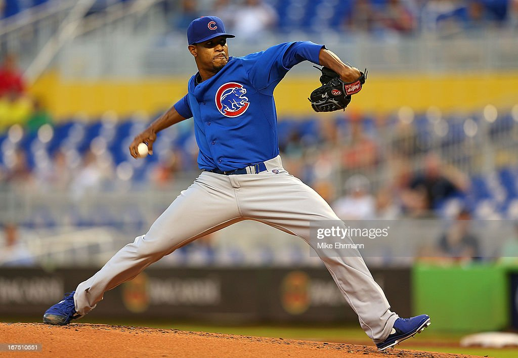 Edwin Jackson #36 of the Chicago Cubs pitches during a game against the Miami Marlins at Marlins Park on April 25, 2013 in Miami, Florida.