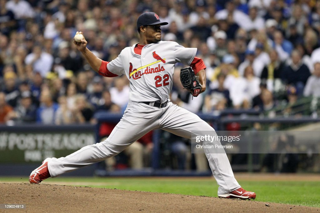 <a gi-track='captionPersonalityLinkClicked' href=/galleries/search?phrase=Edwin+Jackson&family=editorial&specificpeople=220506 ng-click='$event.stopPropagation()'>Edwin Jackson</a> #22 of the St. Louis Cardinals throws a pitch against the Milwaukee Brewers during Game Two of the National League Championship Series at Miller Park on October 10, 2011 in Milwaukee, Wisconsin.