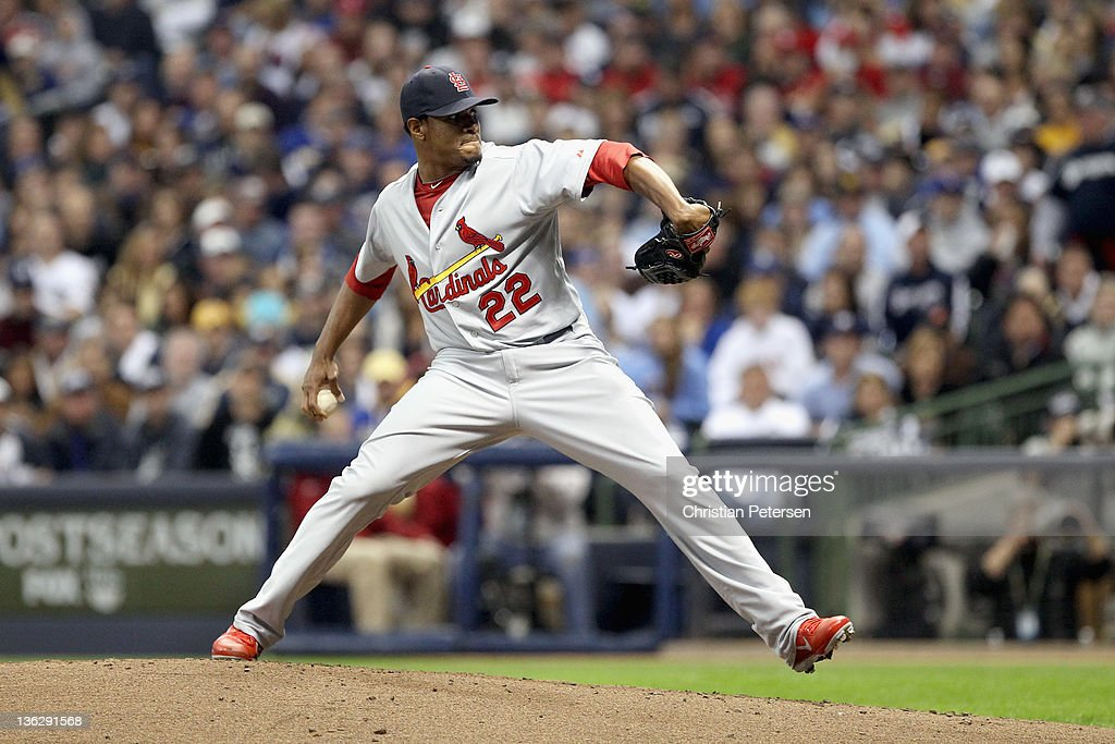 <a gi-track='captionPersonalityLinkClicked' href=/galleries/search?phrase=Edwin+Jackson&family=editorial&specificpeople=220506 ng-click='$event.stopPropagation()'>Edwin Jackson</a> #22 of the St. Louis Cardinals throws a pitch against the Milwaukee Brewers during Game Six of the National League Championship Series at Miller Park on October 16, 2011 in Milwaukee, Wisconsin.