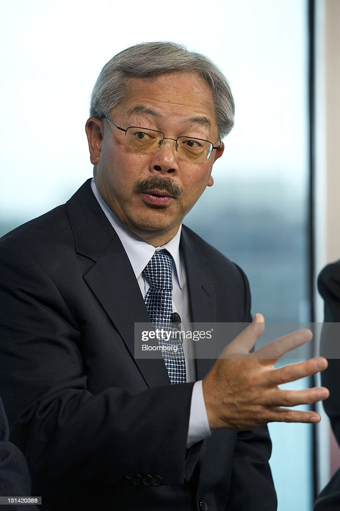 "Edwin Lee, mayor of San Francisco, speaks during a panel discussion titled: 'City Innovation and American Transformation' inside the Bloomberg Link during day three of the Democratic National Convention (DNC) in Charlotte, North Carolina, U.S., on Thursday, Sept. 6, 2012. Four years after the nation made history by electing him the first African-American president, Barack Obama asked for a second term with a pledge to keep rebuilding a battered economy in a way that ""may be harder but it leads to a better place."" Photographer: David Paul Morris/Bloomberg via Getty Images"