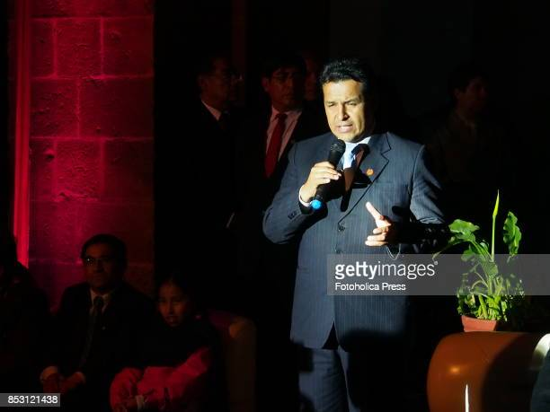 Edwin Licona Licona regional governor of Cusco speeches at the launching of Tourism Month 2017 in Cusco organized by the Regional Direction of...