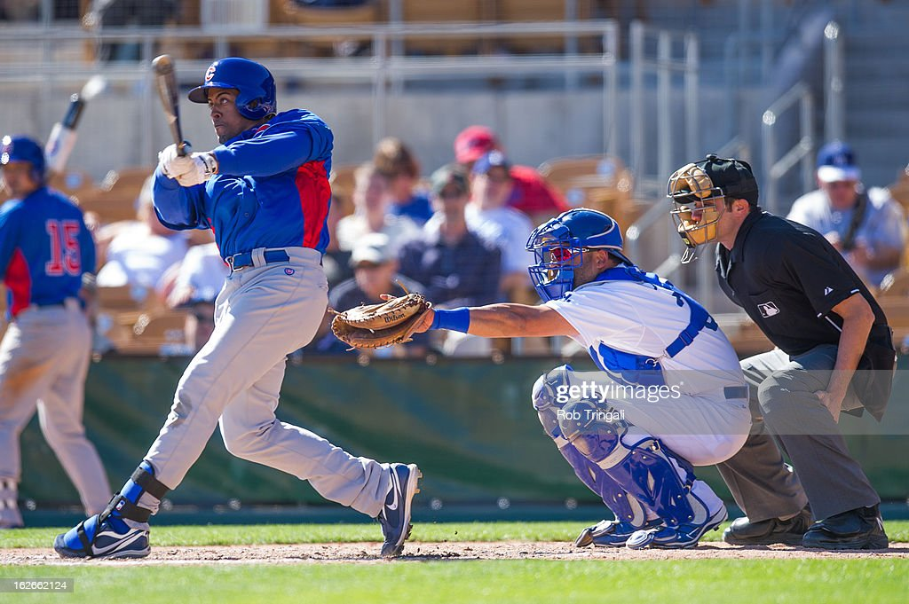 Edwin Maysonet #65 of the Chicago Cubs bats during a spring training game against the Los Angeles Dodgers at Camelback Ranch on February 25, 2013 in Glendale, Arizona.